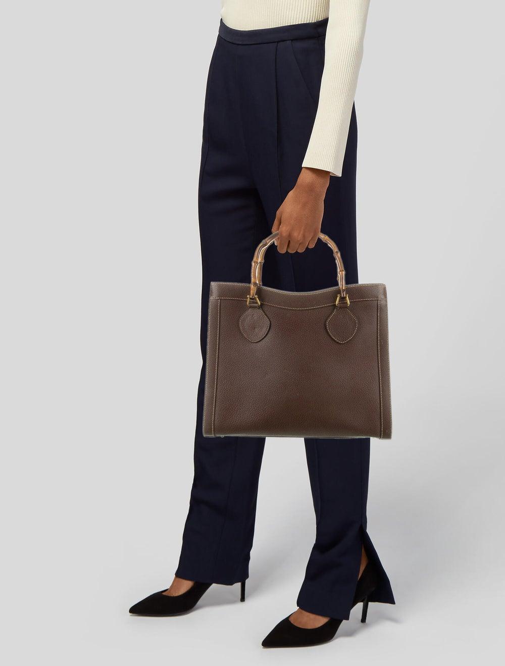 Gucci Vintage Diana Bamboo Tote Brown - image 2