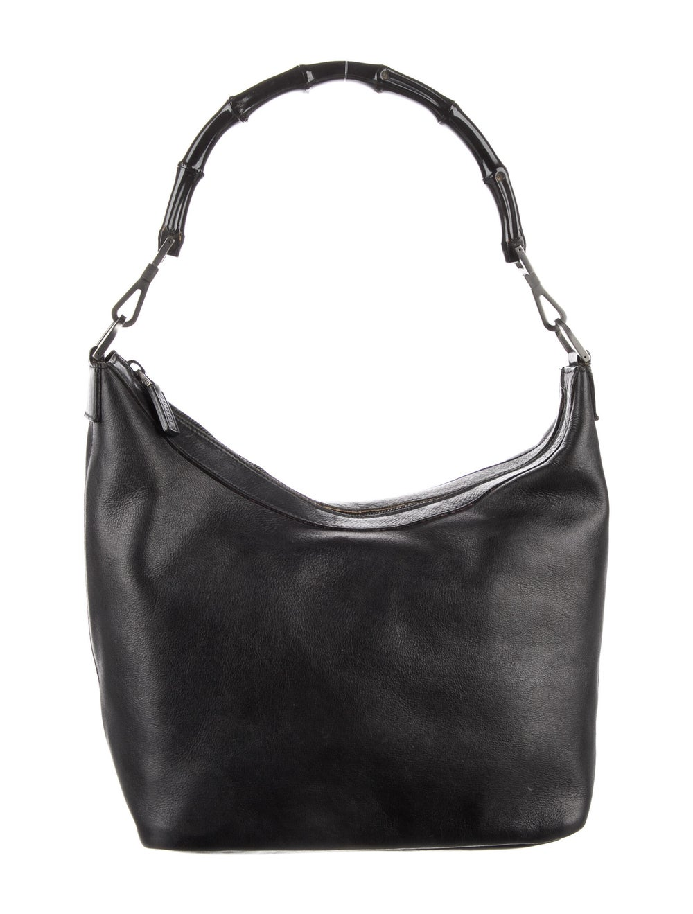 Gucci Vintage Leather Diana Bamboo Handle Hobo Bl… - image 1