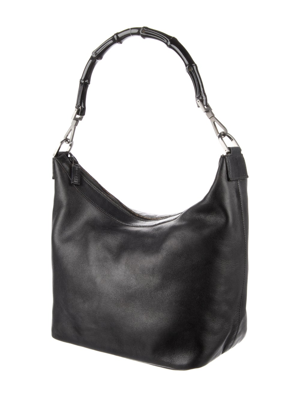 Gucci Vintage Leather Diana Bamboo Handle Hobo Bl… - image 3