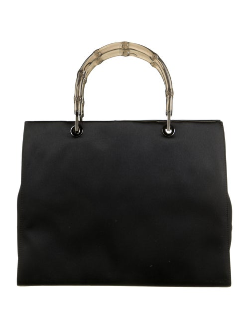 Gucci Clear Bamboo Satin Diana Handle Bag Black - image 1