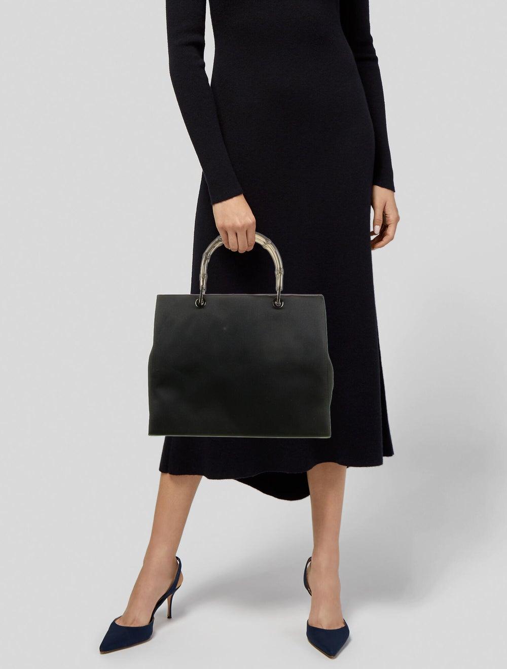 Gucci Clear Bamboo Satin Diana Handle Bag Black - image 2