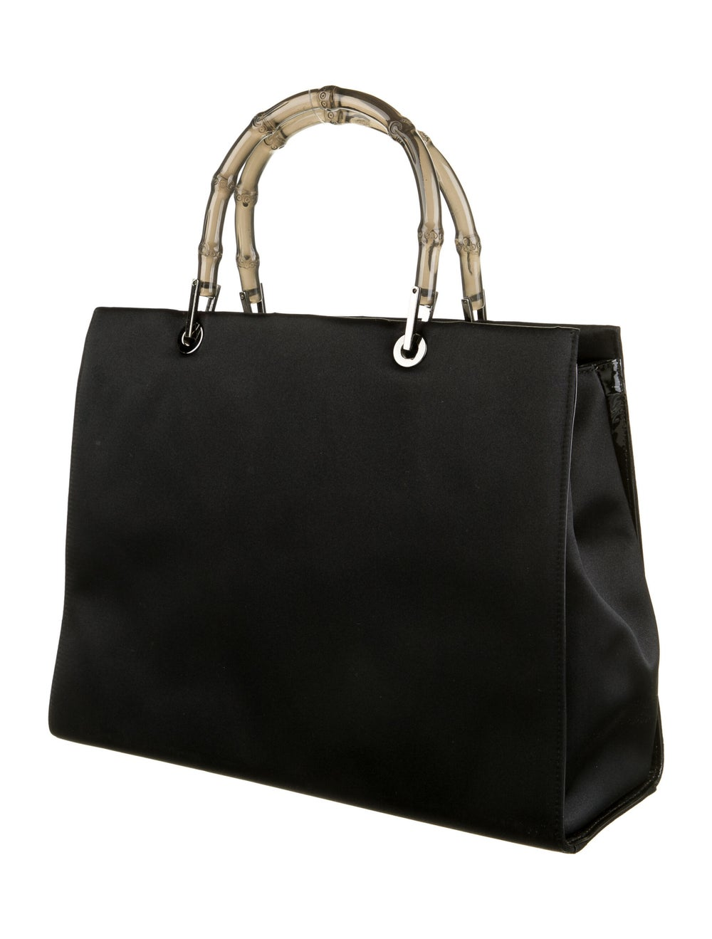 Gucci Clear Bamboo Satin Diana Handle Bag Black - image 3