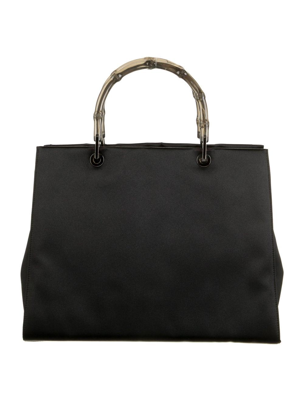 Gucci Clear Bamboo Satin Diana Handle Bag Black - image 4