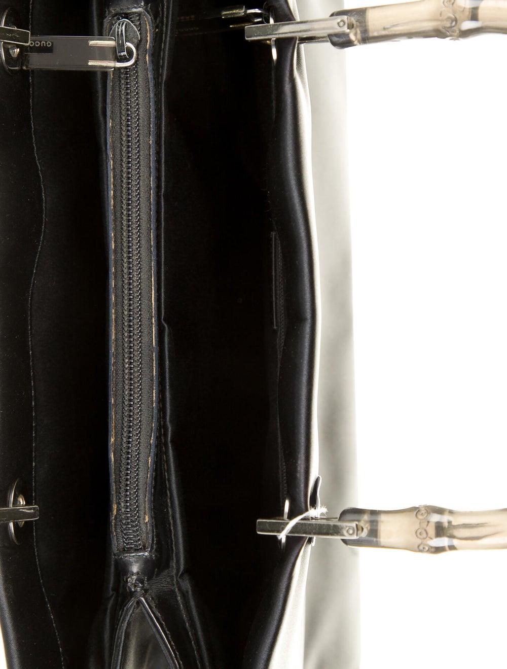 Gucci Clear Bamboo Satin Diana Handle Bag Black - image 5