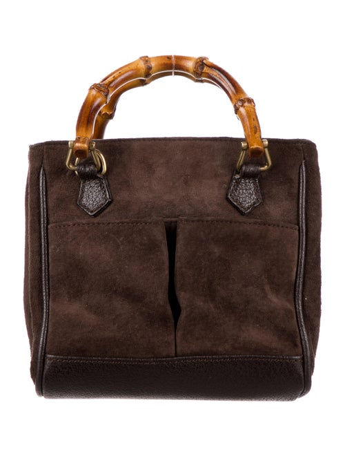 Gucci Vintage Bamboo Mini Suede Diana Bag Brown - image 1