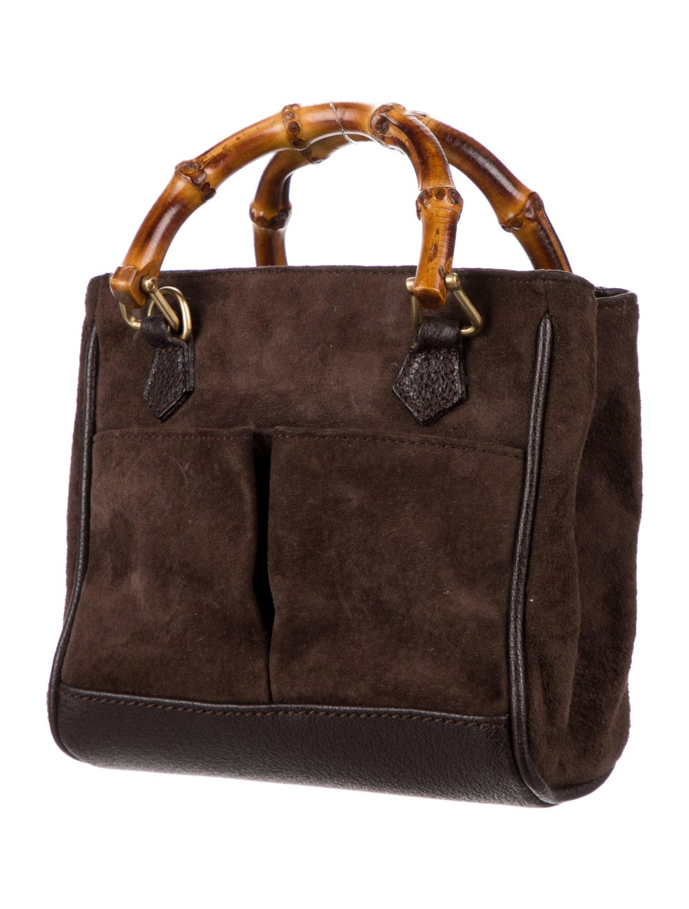 Gucci Vintage Bamboo Mini Suede Diana Bag Brown - image 3