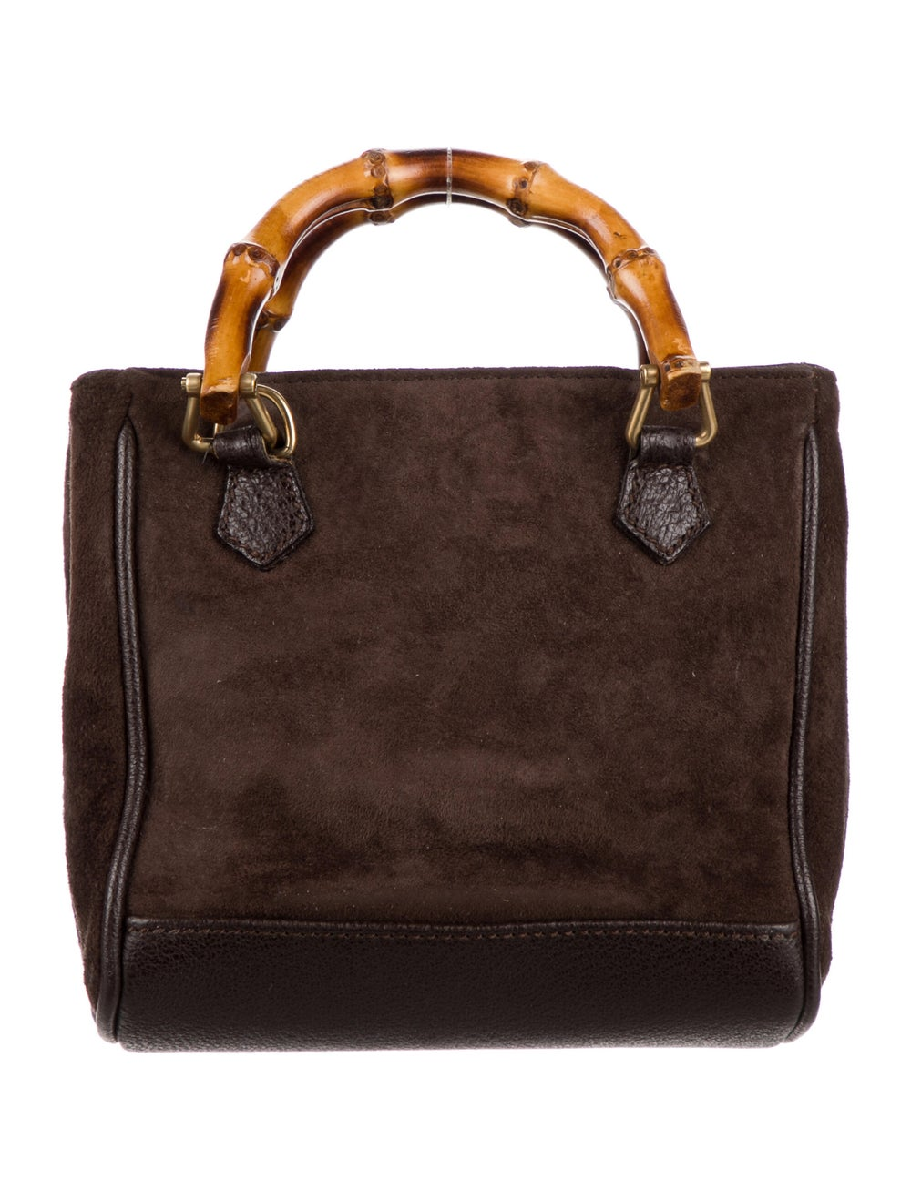 Gucci Vintage Bamboo Mini Suede Diana Bag Brown - image 4