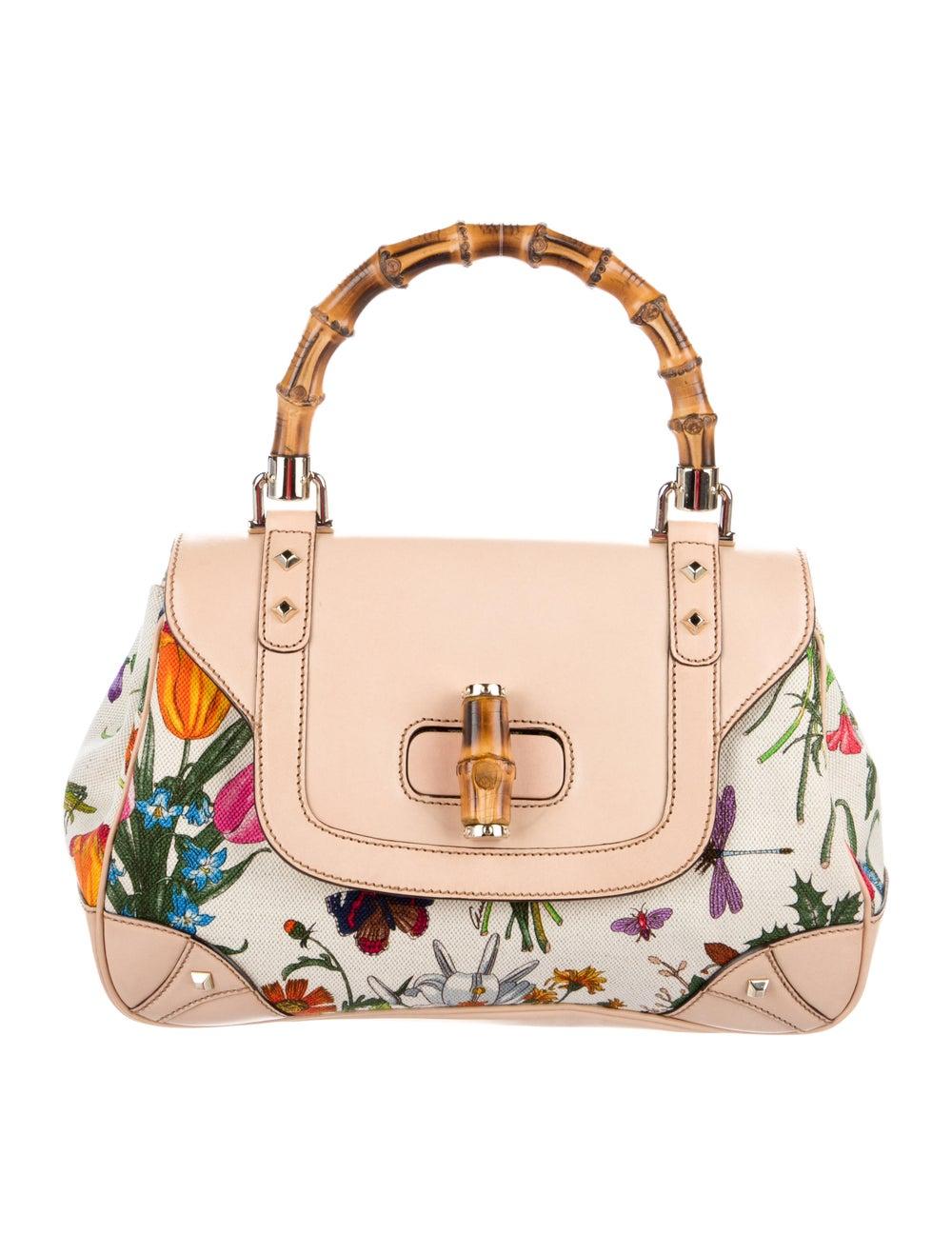 Gucci Flora Bamboo Handle Bag White - image 1