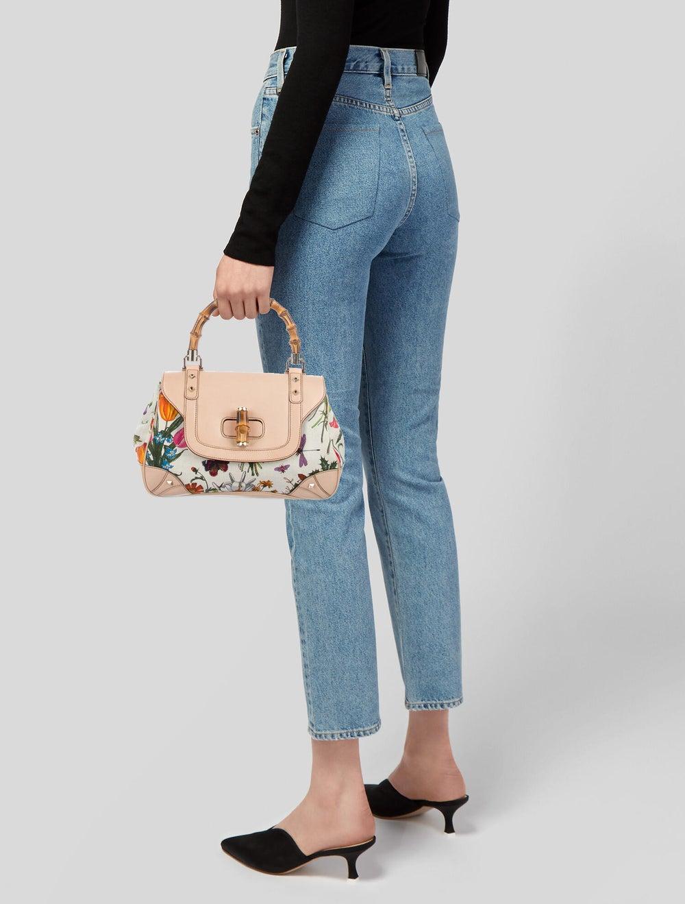 Gucci Flora Bamboo Handle Bag White - image 2