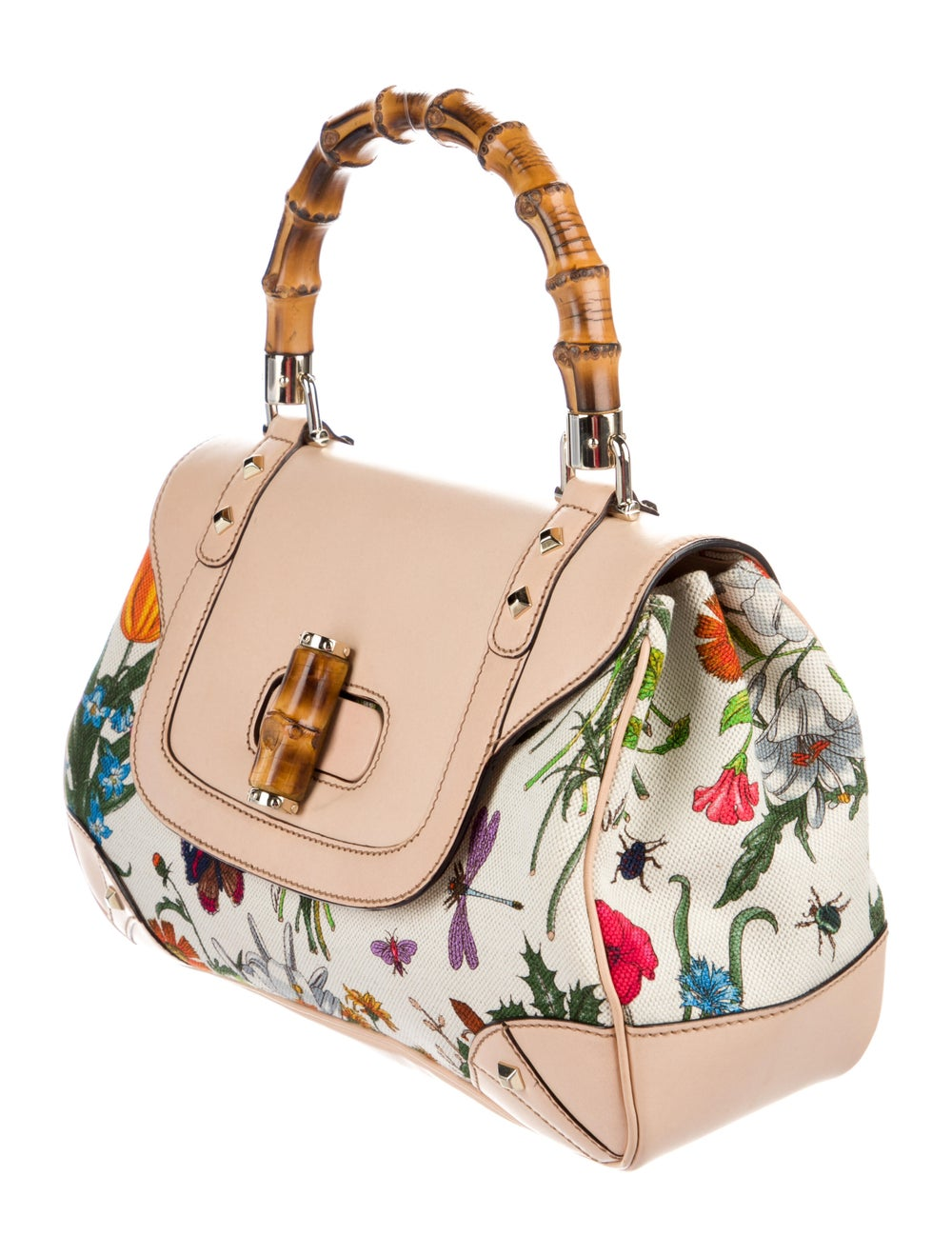 Gucci Flora Bamboo Handle Bag White - image 3