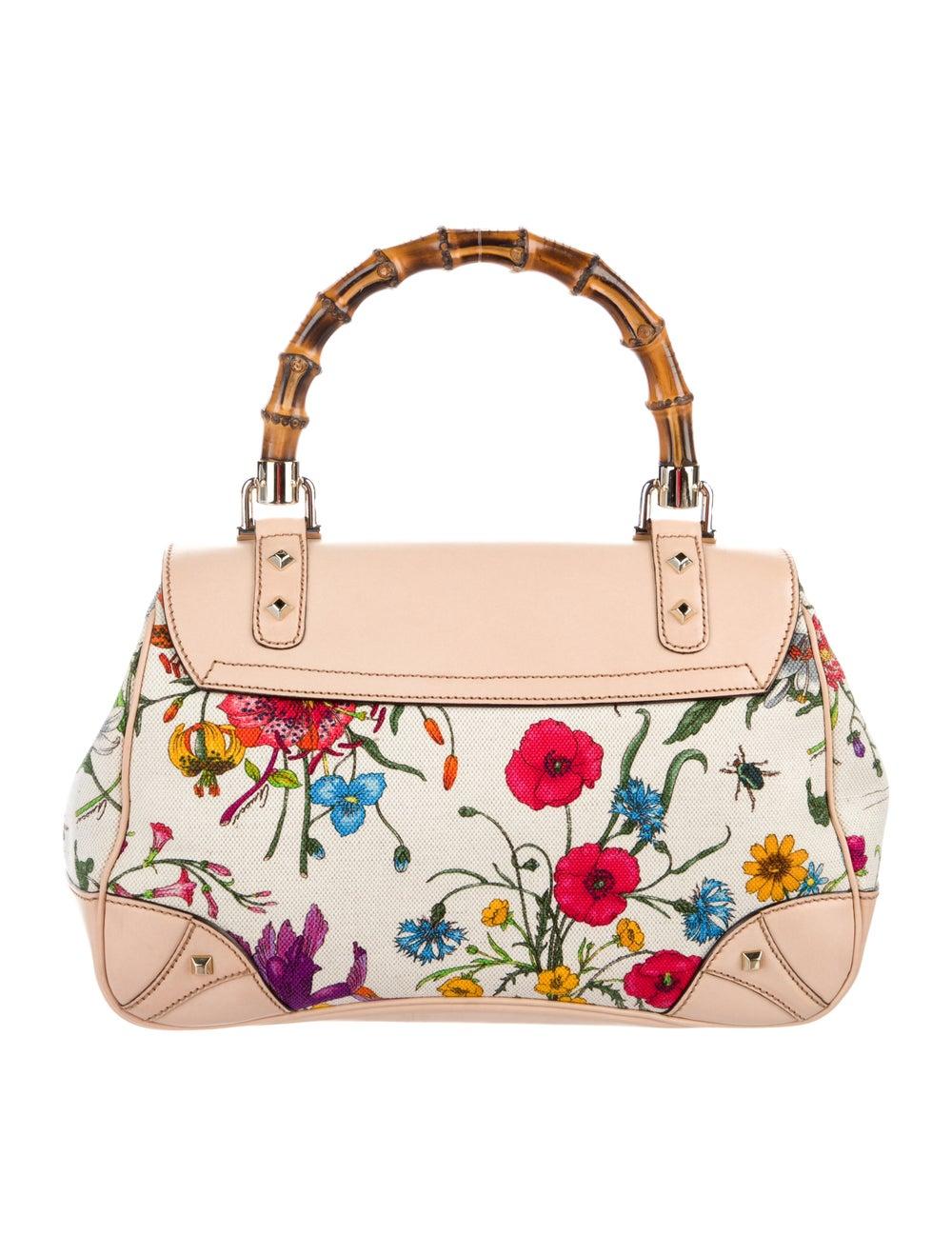 Gucci Flora Bamboo Handle Bag White - image 4