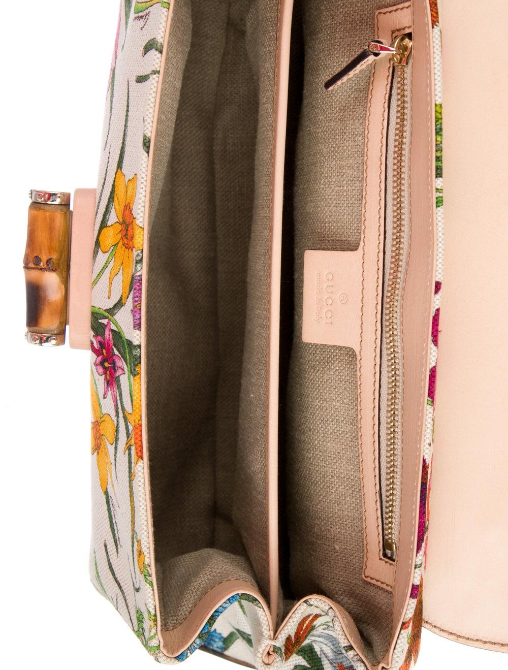 Gucci Flora Bamboo Handle Bag White - image 5