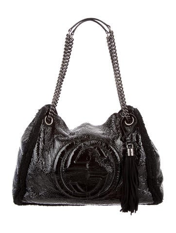 Patent Shearling Soho Shoulder Bag