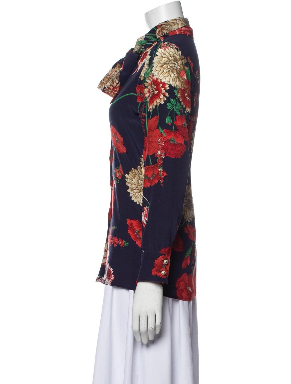 Gucci Floral Silk Silk Blouse Blue - image 2