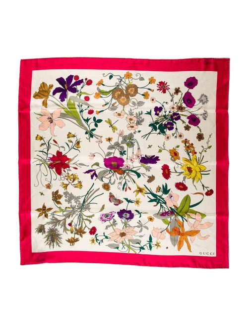 Gucci Silk Floral Print Scarf Pink - image 1
