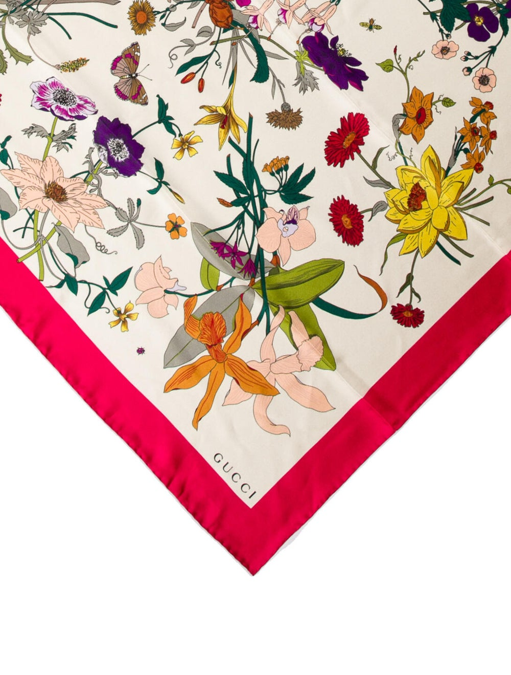 Gucci Silk Floral Print Scarf Pink - image 2