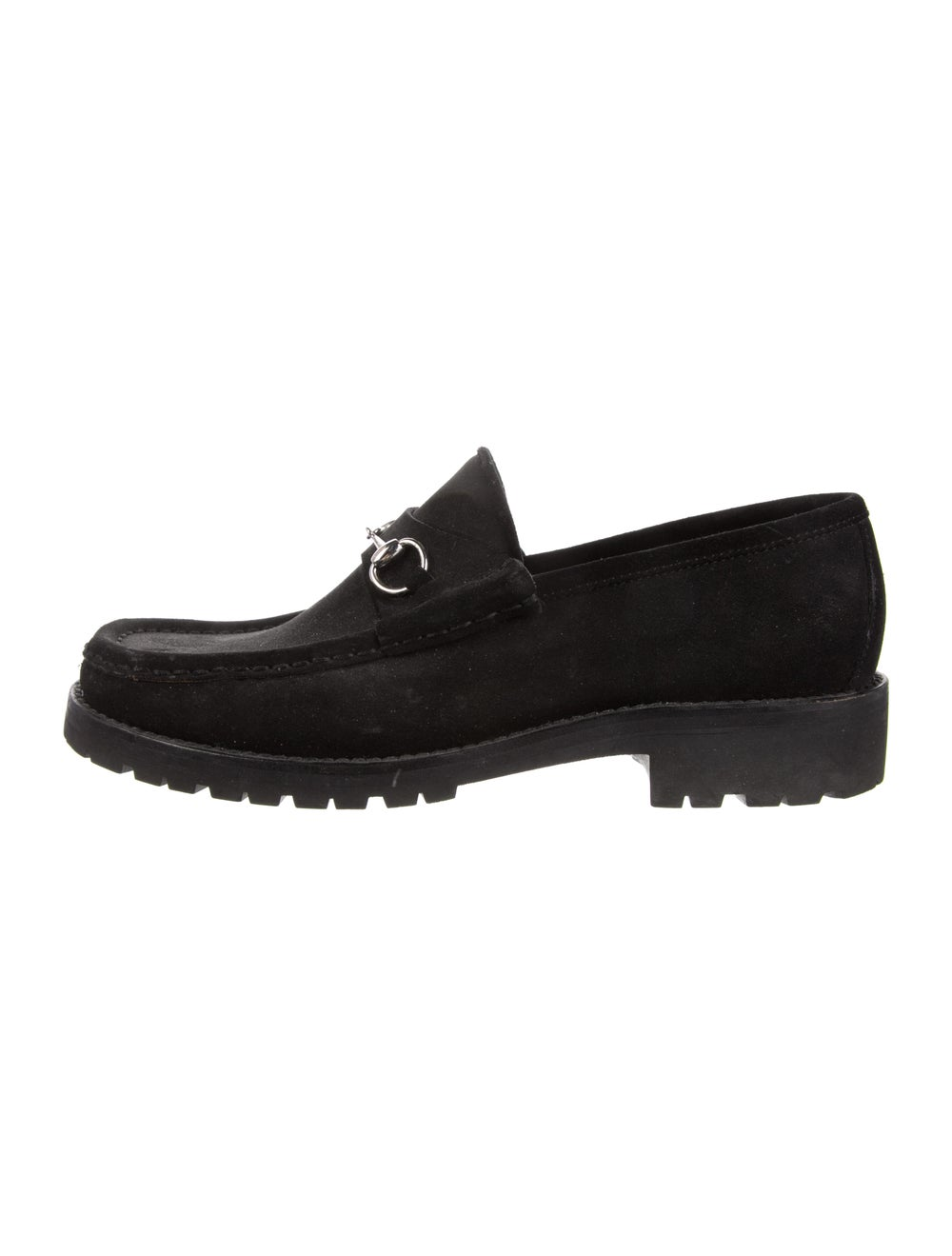 Gucci 1955 Horsebit Accent Suede Loafers Black - image 1