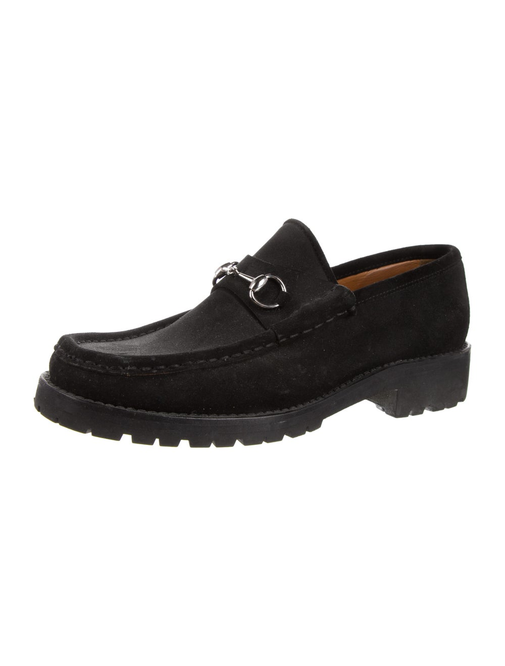 Gucci 1955 Horsebit Accent Suede Loafers Black - image 2