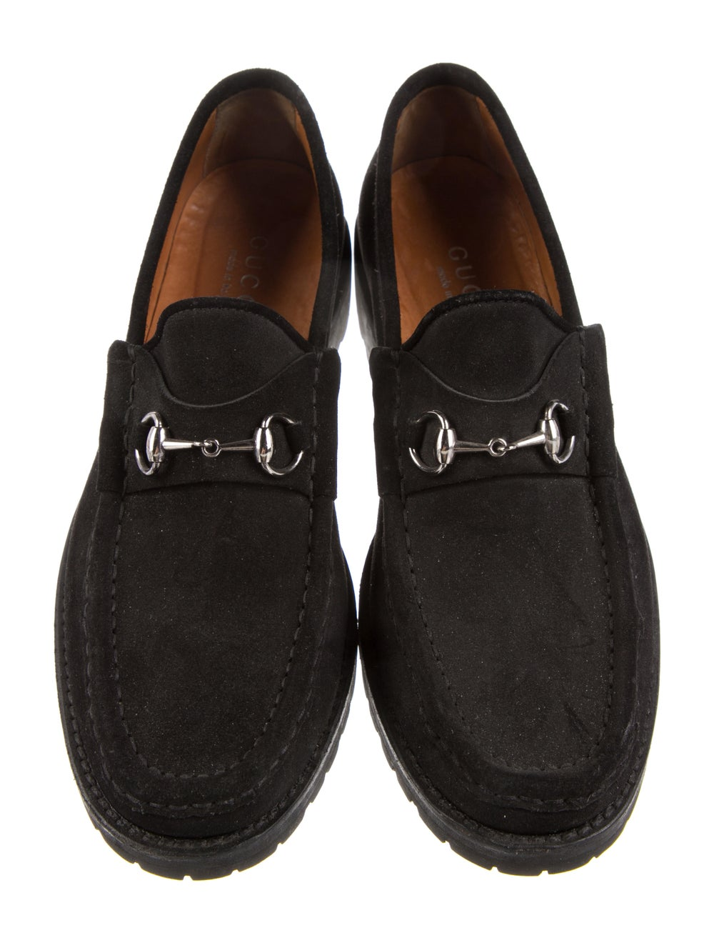 Gucci 1955 Horsebit Accent Suede Loafers Black - image 3