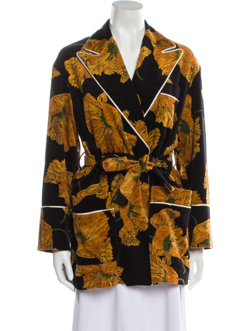 Gucci 2017 Floral Print Blazer Black