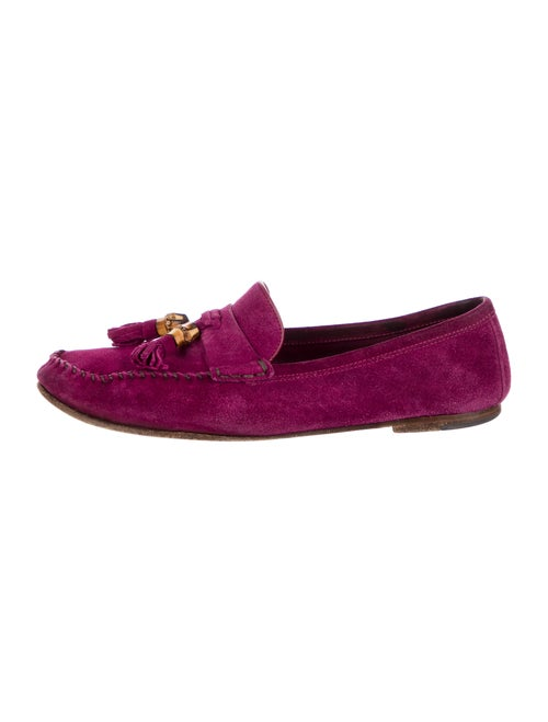 Gucci Suede Tassel Accents Loafers Purple - image 1