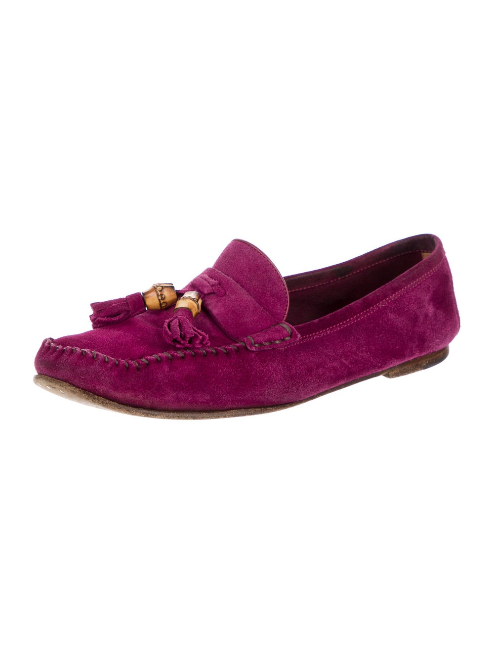 Gucci Suede Tassel Accents Loafers Purple - image 2