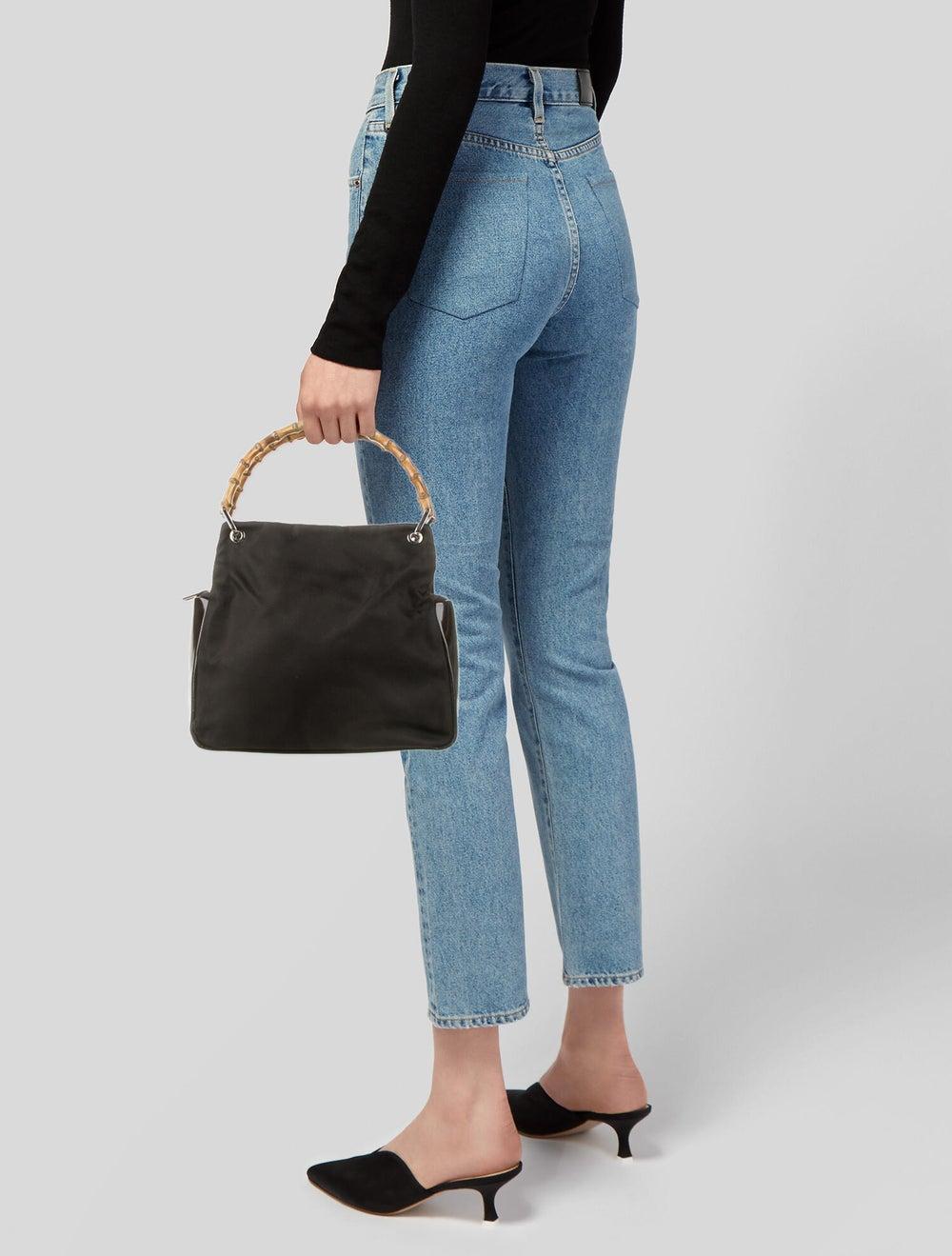Gucci Vintage Nylon Bamboo Handle Bag Brown - image 2