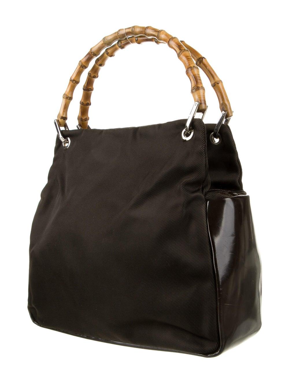 Gucci Vintage Nylon Bamboo Handle Bag Brown - image 3