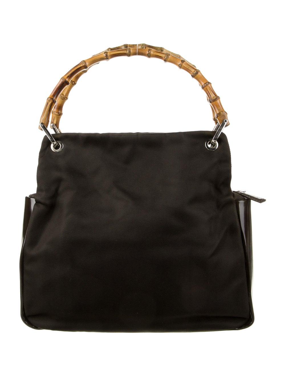 Gucci Vintage Nylon Bamboo Handle Bag Brown - image 4