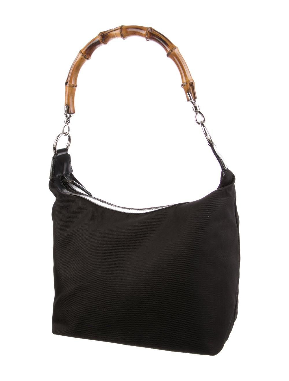 Gucci Vintage Nylon Bamboo Shoulder Bag Black - image 3