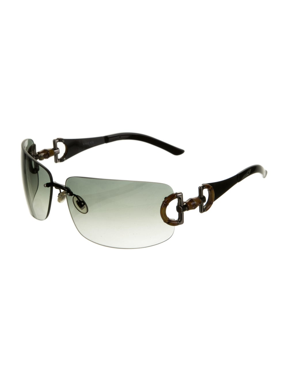 Gucci Bamboo Accent Shield Sunglasses Black - image 2