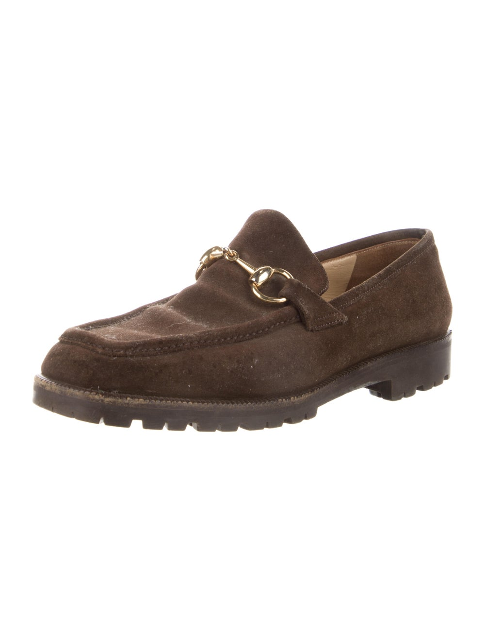 Gucci Horsebit Accent Suede Loafers Brown - image 2