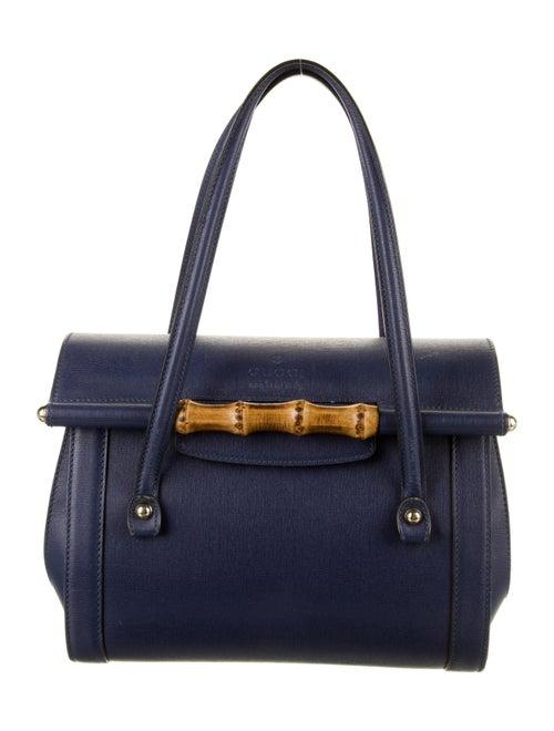 Gucci Leather Bamboo Bullet Shoulder Bag Blue - image 1