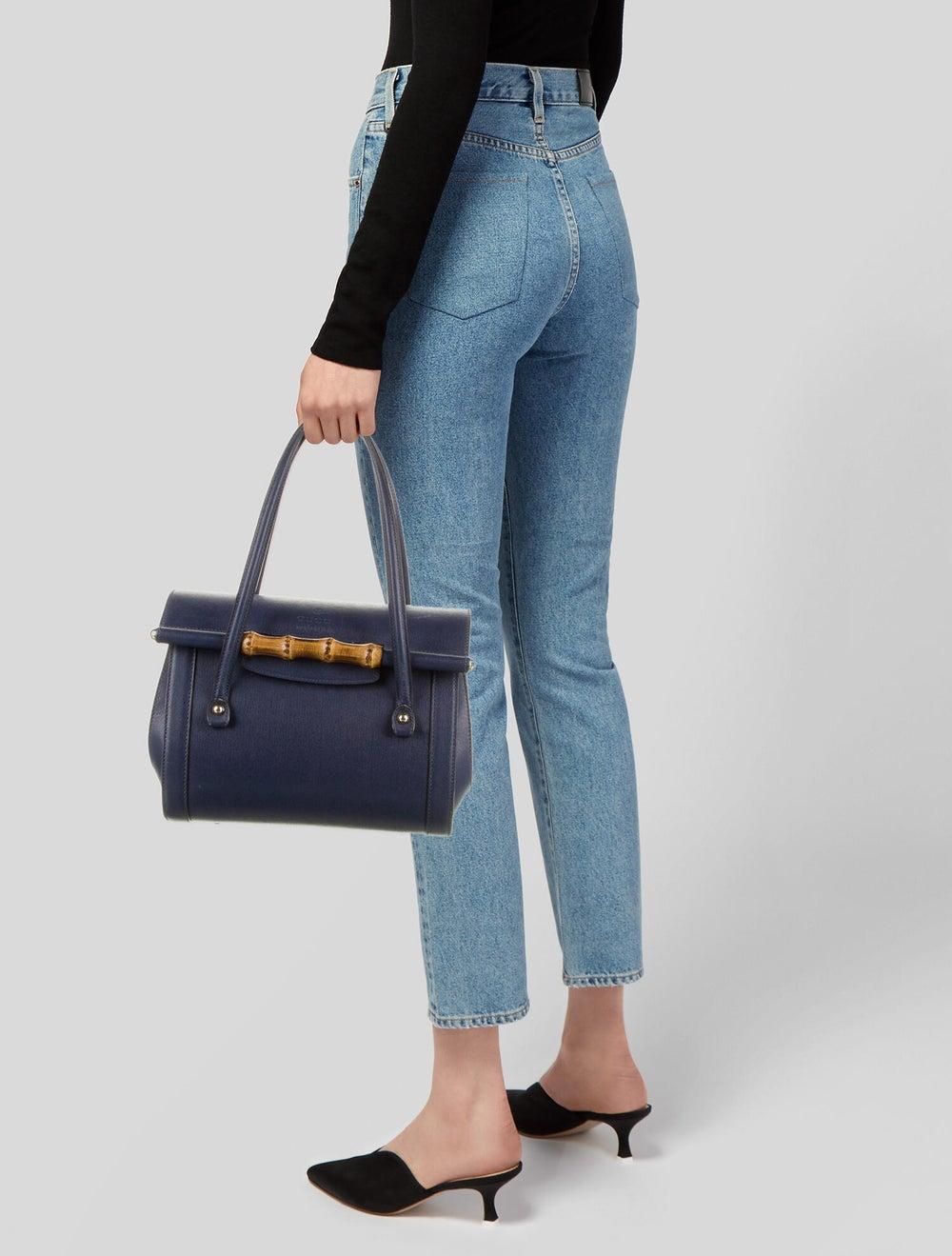 Gucci Leather Bamboo Bullet Shoulder Bag Blue - image 2