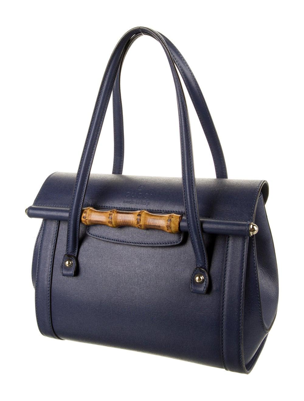 Gucci Leather Bamboo Bullet Shoulder Bag Blue - image 3