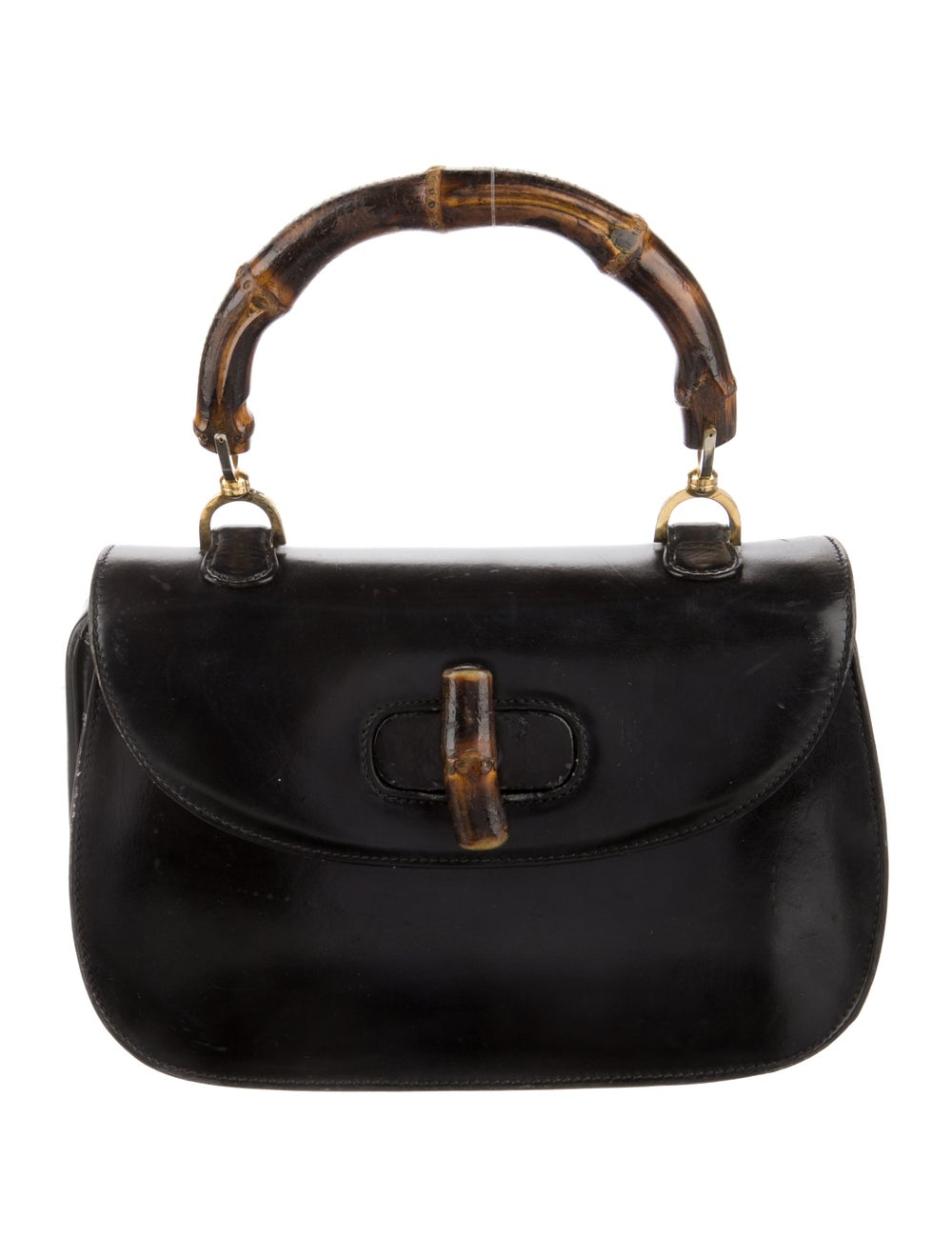 Gucci Vintage Leather Bamboo Top Handle Bag Black - image 1