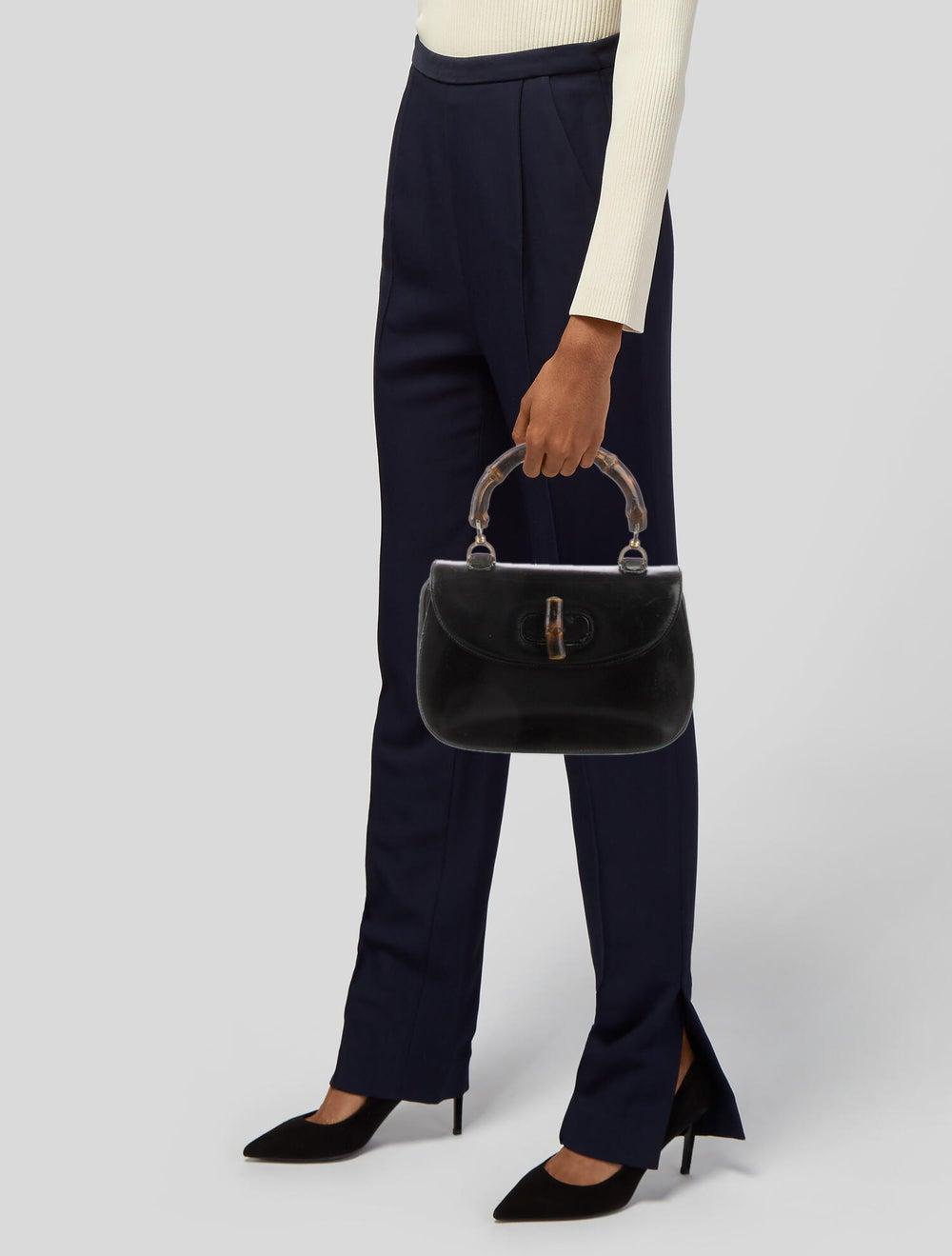 Gucci Vintage Leather Bamboo Top Handle Bag Black - image 2