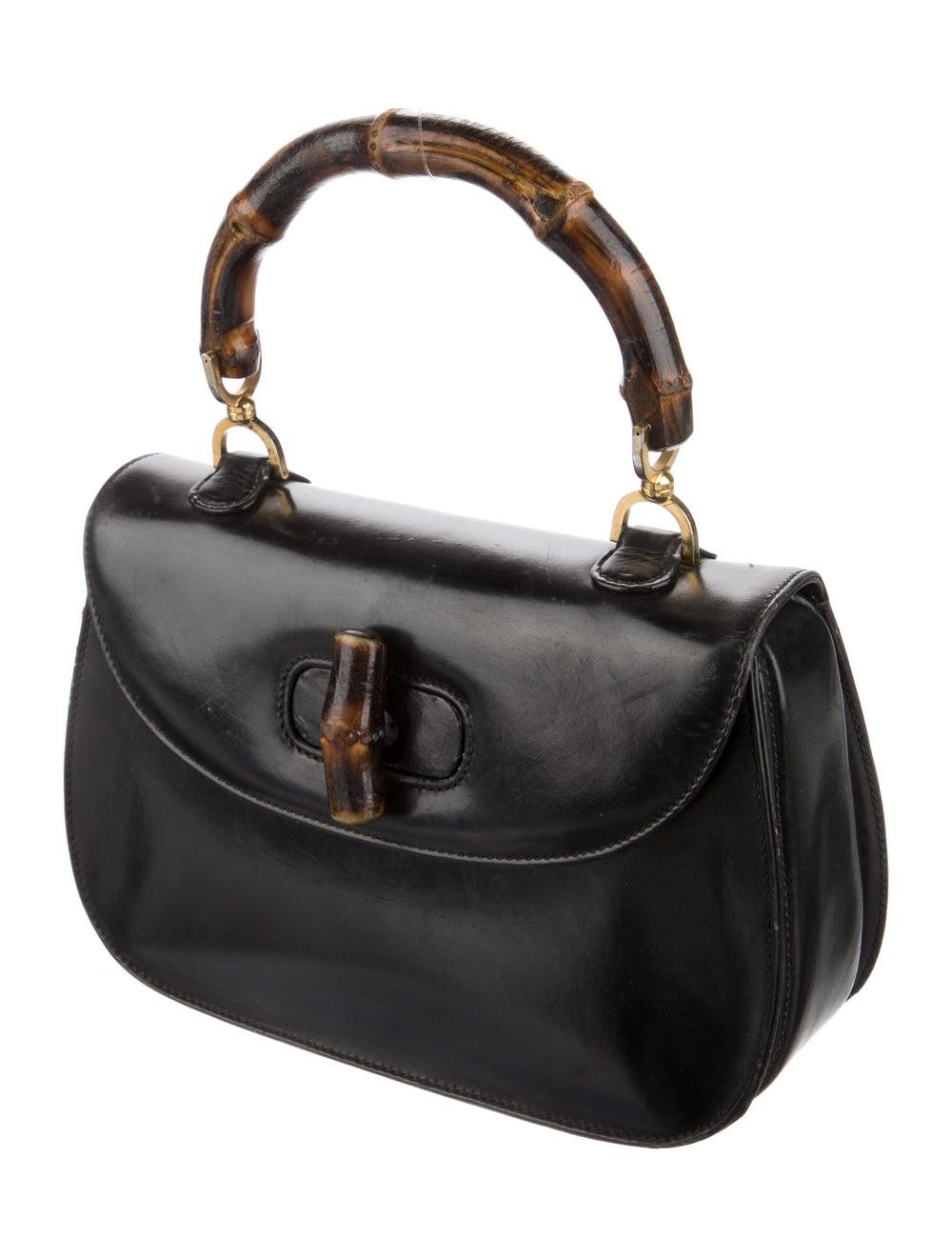 Gucci Vintage Leather Bamboo Top Handle Bag Black - image 3