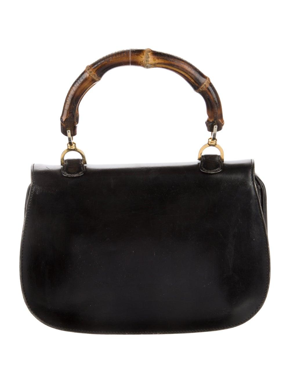 Gucci Vintage Leather Bamboo Top Handle Bag Black - image 4