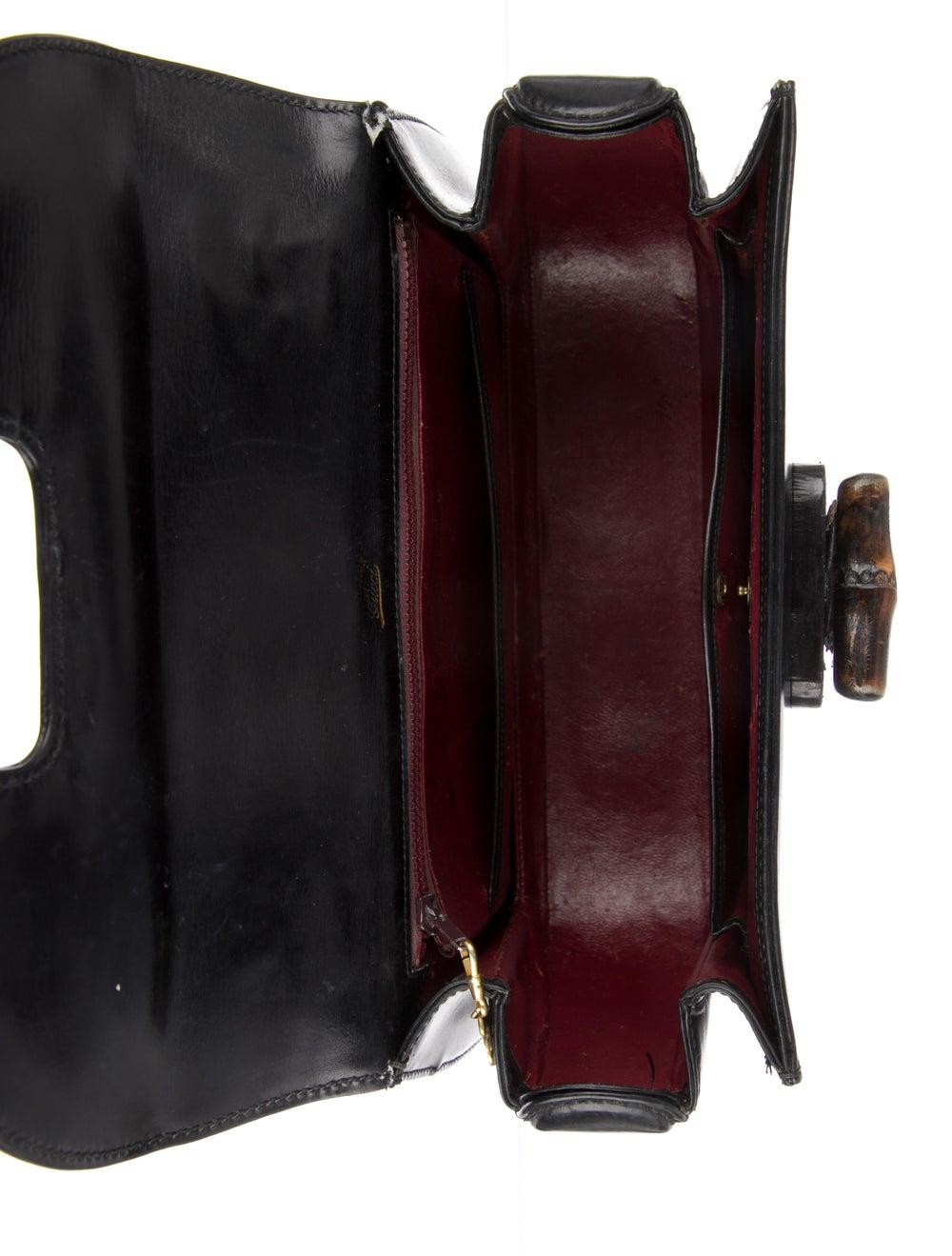 Gucci Vintage Leather Bamboo Top Handle Bag Black - image 5
