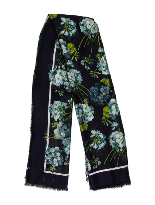 Gucci Floral Print Scarf Blue