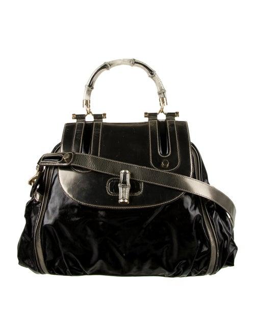 Gucci Dialux Bamboo Pop Top Handle Bag Black