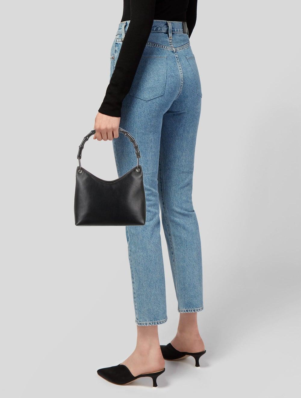 Gucci Bamboo Leather Handle Bag Blue - image 2