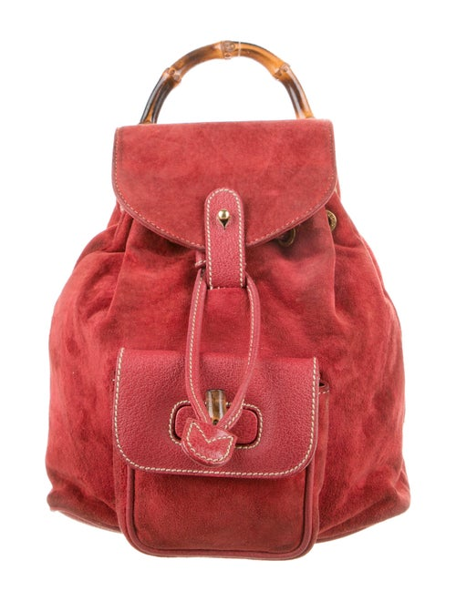 Gucci Vintage Mini Suede Bamboo Backpack Red