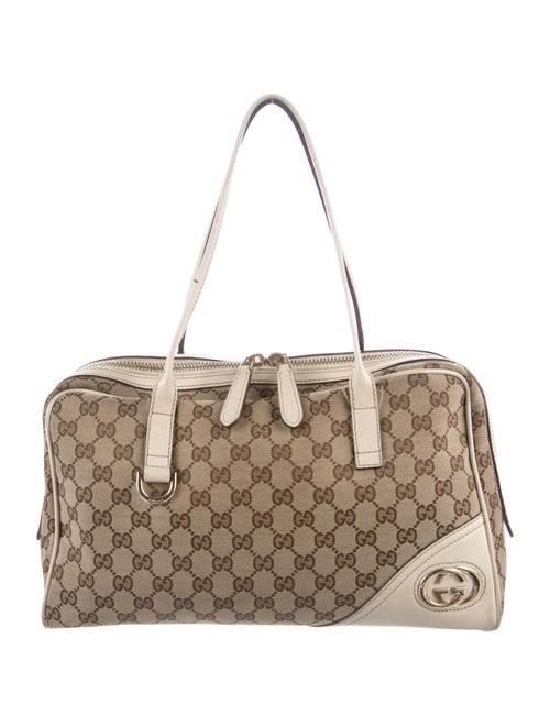 Gucci Monogram New Britt Medium Boston Bag Gold