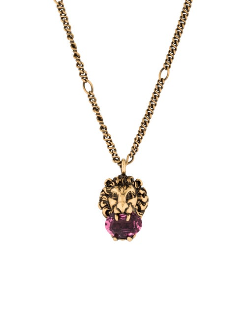 7b1a08ca373ac6 Gucci Lion Head Necklace With Crystal - Necklaces - GUC77247 | The ...