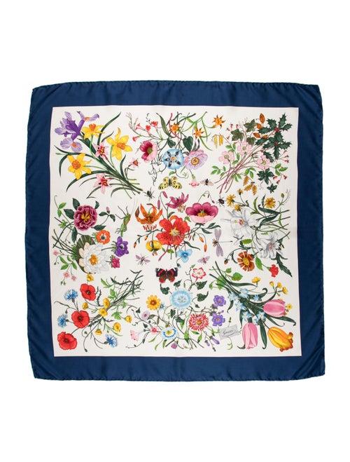 Gucci Silk Floral Print Scarf Blue