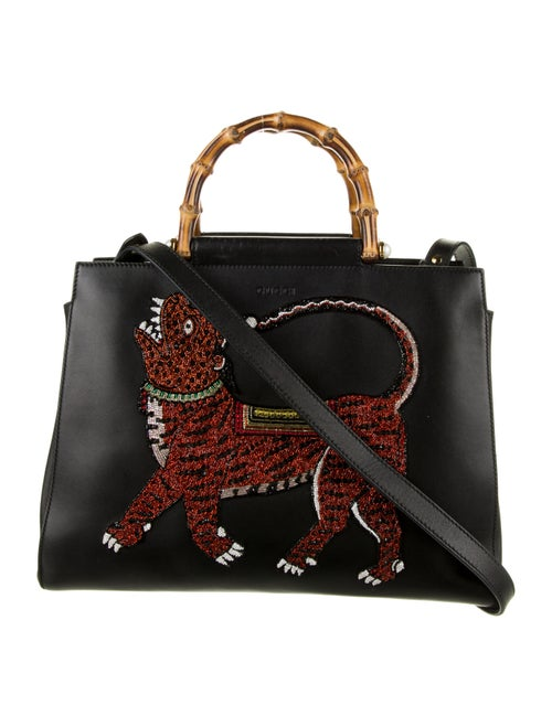 Gucci Medium Embroidered Nymphaea Bamboo Black