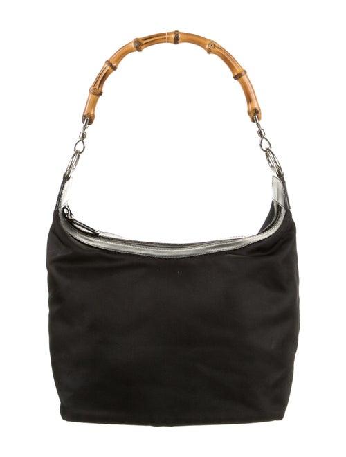 Gucci Vintage Nylon Bamboo Shoulder Bag Black