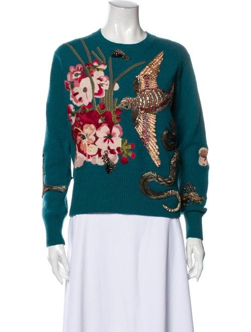 Gucci Wool Floral Print Sweater Wool